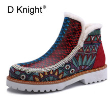 D Knight Woman Genuine Leather Shoes Fashion Ankle Snow Boots Cowhide 3cm Square Heels Winter Warm Handmade Lady Shoes Plus Size showfun genuine leather shoes woman grit cowhide solid square heels boots