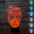 Colorido Terminator 3D Lámpara de Mesa Luminaria LED de Control Remoto de Luces de La Noche de Regalo de Navidad de la lámpara Atmósfera de iluminación Decorativa