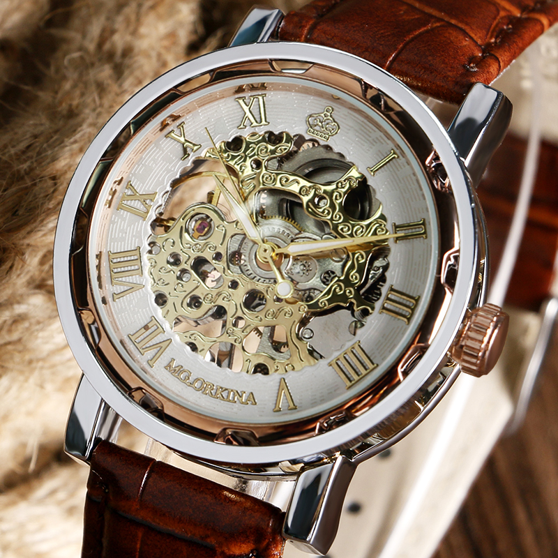 Top Brand MG. ORKINA Skeleton Unique Mechanical Hand Wind Watch Roman Numbers Men's Wrist Watch With Genuine Leather Male Clock ks black skeleton gun tone roman hollow mechanical pocket watch men vintage hand wind clock fobs watches long chain gift ksp069