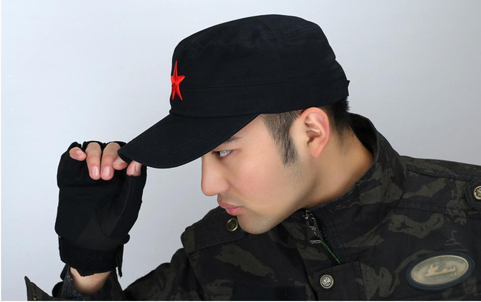 fe5ccb25817 Men Pentagram Flat Caps Red Star Motorcycle Cap Actical Baseball Caps  Fishing Hat Snapback Hats Bone Adjustable