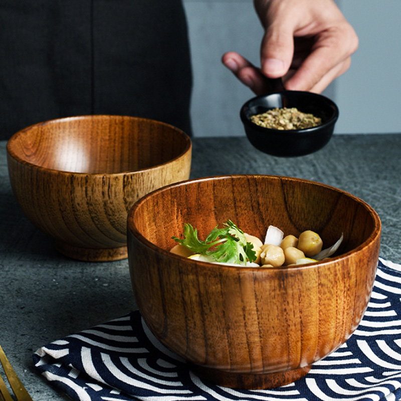 Japanese Style Wooden Bowl 3 Sizes Soup Salad Rice Bowl Food Container Dining Serving Bowl Wooden Kitchen Utensils Kids Tableware (6)