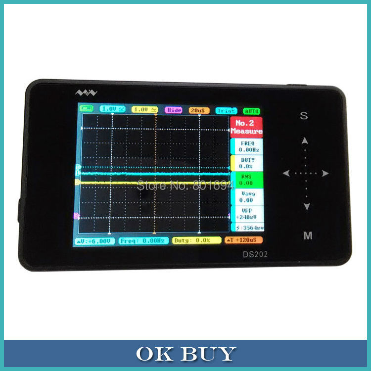 ARM STM32 DS202 Touch Nano Mini Pocket Digital Storage Compact Dual-channel Oscilloscope 3'TFT Aluminum Black  New In Box цена и фото