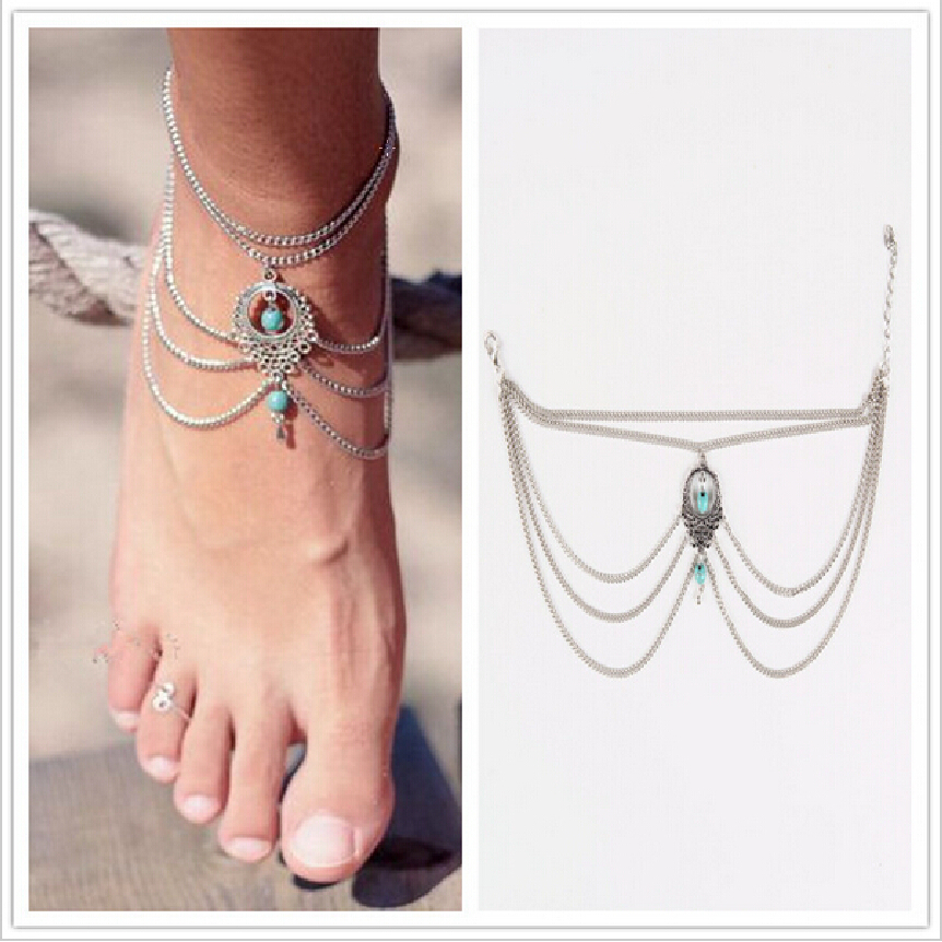 1PC Hot Summer Ankle Bracelet Bohemian Foot Jewelry Turquoise Turquoise Anklets for Women