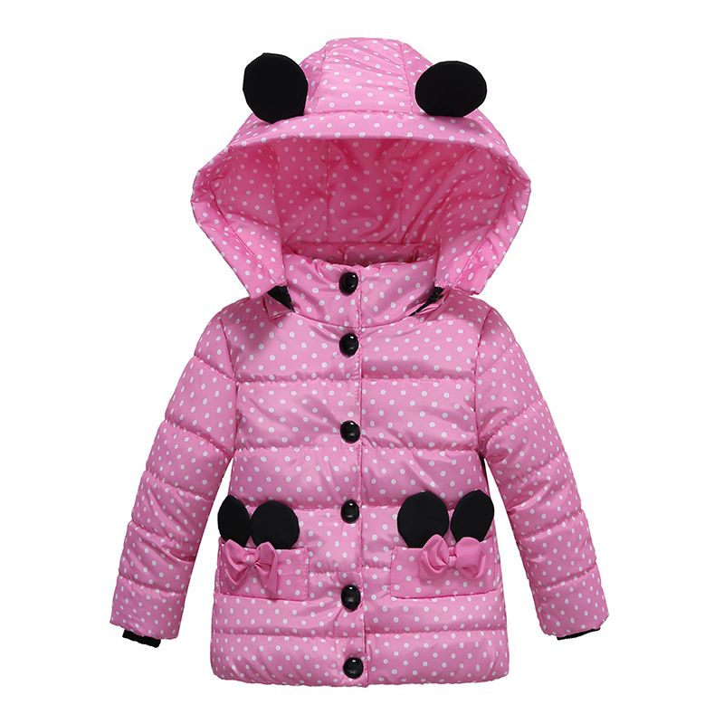 Girls Winter Coat Children Fashion Hooded Warm Coat Cotton Printed Thick Warm Kids Jacket Brand Girls Parka Outerwear Minnie