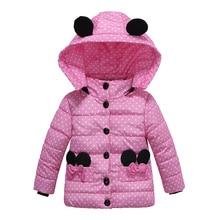 Зимнее пальто для девочек; детское Модное теплое пальто с капюшоном; хлопковая плотная теплая детская куртка с принтом; брендовая парка для девочек; Верхняя одежда с Минни Маус
