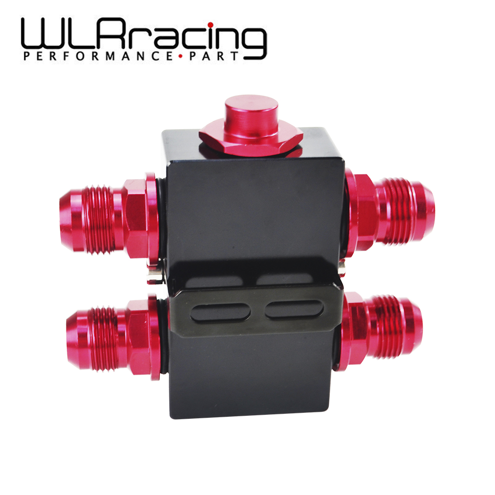 WLR RACING - Oil Filter Sandwich Adaptor With In- Line Oil Thermostat AN10 fitting Oil Sandwich Adapter WLR5672BK wlring oil filter sandwich adaptor for high quality oil filter remote block with thermostat 1xan8 4xan10 orb female wlr6744
