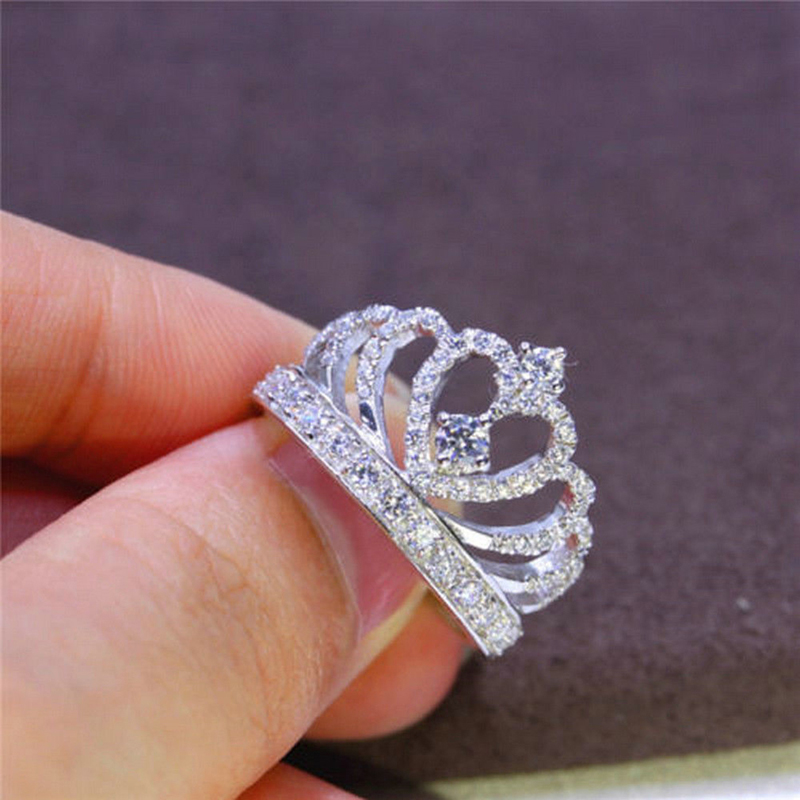 Elegant Crown White Birthstone Silver Crystal Ring For Woman Wedding Jewelry Gift