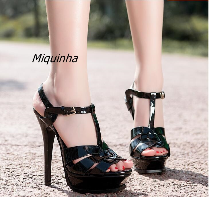 Shinny Patent leather High Platform Stiletto Buckle Strap Women Sandals Party Dress Nude Black Lady Pumps High Heel Dress Shoes shinny patent leather high platform stiletto buckle strap women sandals party dress nude black lady pumps high heel dress shoes
