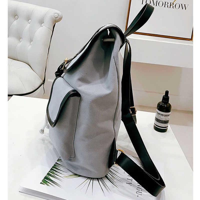 2019 Новый женский холщовый рюкзак в консервативном стиле для школьниц студенческий школьный рюкзак сумка на шнуровке Bolsas хаки