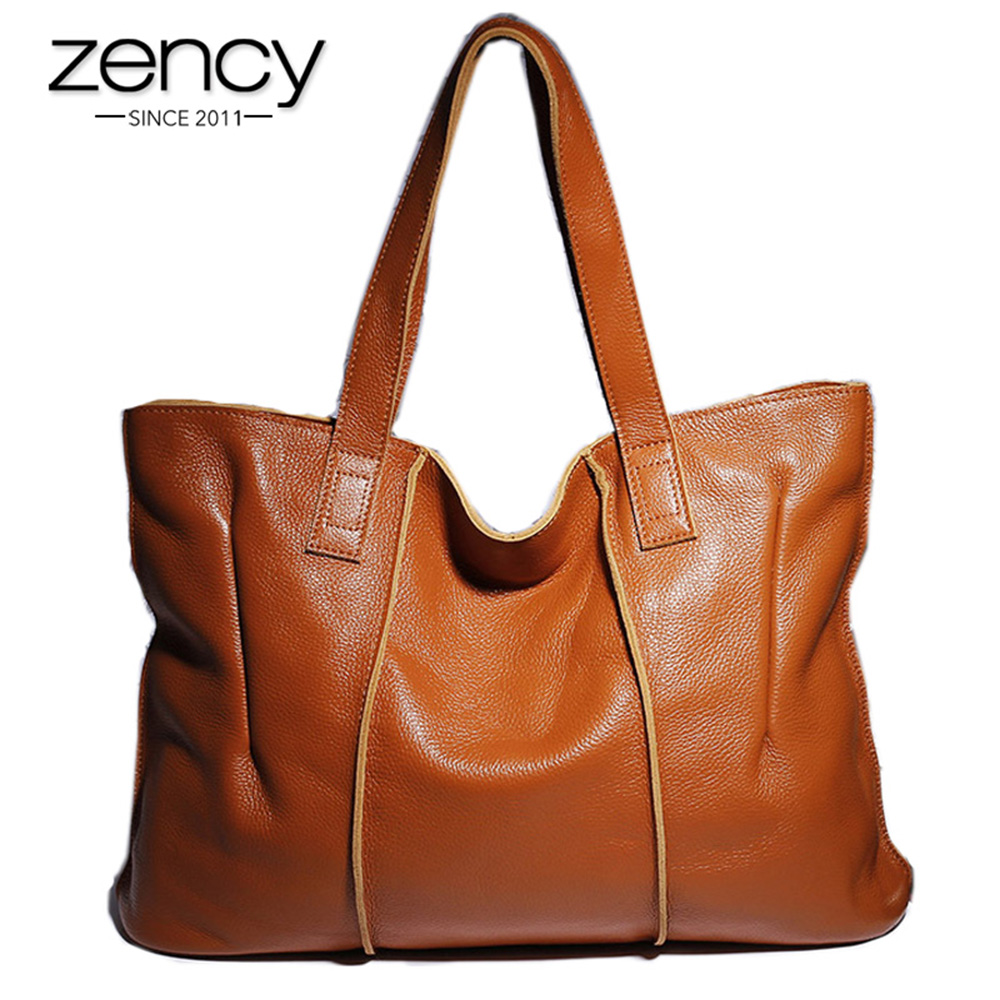 Zency 100% Genuine Leather Handbag Large Capacity Women Shoulder Bag Retro Tote Purse High Quality Hobos Brown Shopping Bags-in Shoulder Bags from Luggage & Bags