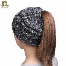 2017 musim dingin wanita populer topi gadis beanies wanita topi Ekor Lembut Peregangan Kabel Knit Berantakan Bun Ponytail Tinggi caps