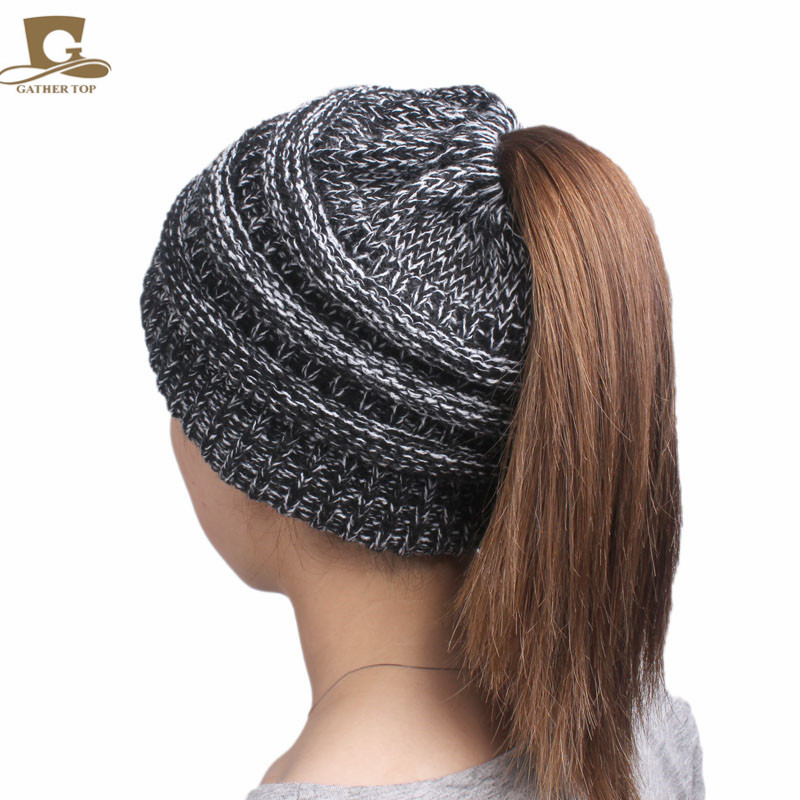 c54b7727 Best buy 2017 winter Women s popular beanies hats girls lady hat Tail Soft  Stretch Cable Knit Messy High Bun Ponytail caps online cheap