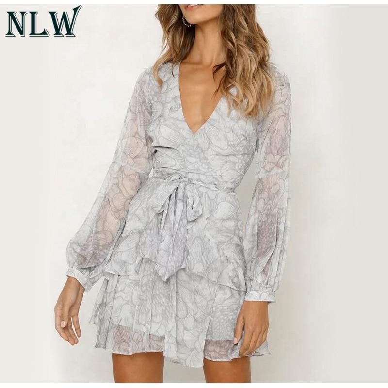 NLW 19 Long Sleeve Chiffon Women Dress Feminino Party Ruffle Dress Elegant Casual Vintage Autumn Winter Pink Dresses Vestidos 9