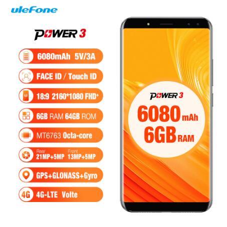 Original Ulefone Power 3 teléfonos móviles de 6,0 pulgadas 64GB ROM 6GB RAM Octa Core MTK6763 Android 7,1 de cuatro cámaras 6080mAh Smartphone - 2