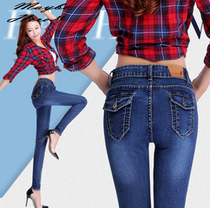 cb6de773 € 36.03  2016 New Fashion Popular Slim Jeans Feet Pencil Pants Women's  Denim Trousers #1147 en Pantalones y pantalones pirata de Ropa de mujer en  ...