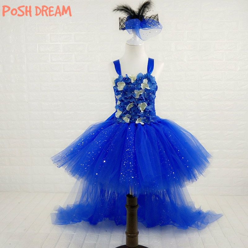 POSH DREAM Vintage Princess Royal Blue Flower Girls Dress for Party with Train White Flower Kids Girls Royal Blue Tutu Dress blouse with flower bell bottom color blue