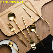 7pcs KuBac Hommi Quality Stainless Steel Knife Fork Party Golden Dinnerware Set Matte Gold Cutlery Set Tableware Drop Shipping