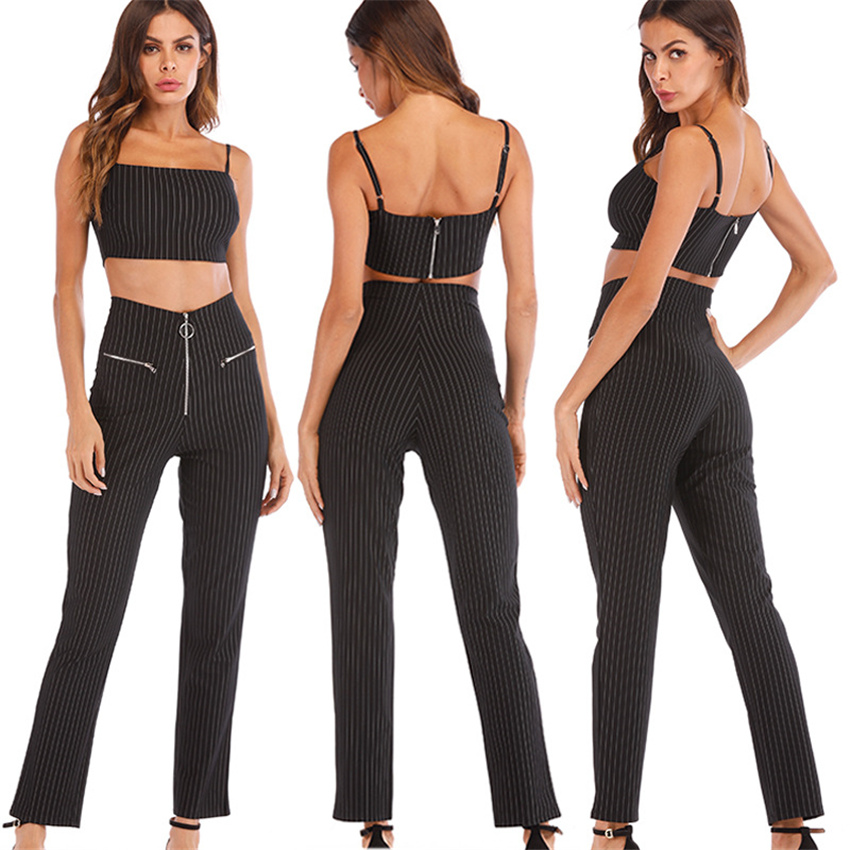 FANIECES <font><b>Women</b></font> striped Sling <font><b>crop</b></font> <font><b>top</b></font> Zipper <font><b>pants</b></font> <font><b>2</b></font> <font><b>piece</b></font> <font><b>set</b></font> for female <font><b>women</b></font> <font><b>2018</b></font> autumn fashion show <font><b>sexy</b></font> <font><b>two</b></font> <font><b>pieces</b></font> <font><b>sets</b></font> image