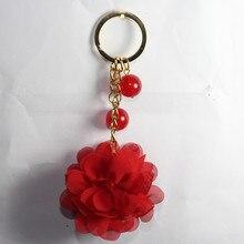 High Quality Gold Chains Acrylic Round Pearl Bag Keychain Pom pom Car Keyring Silk Yarn Rose Keychain Charms Keychain Key rings