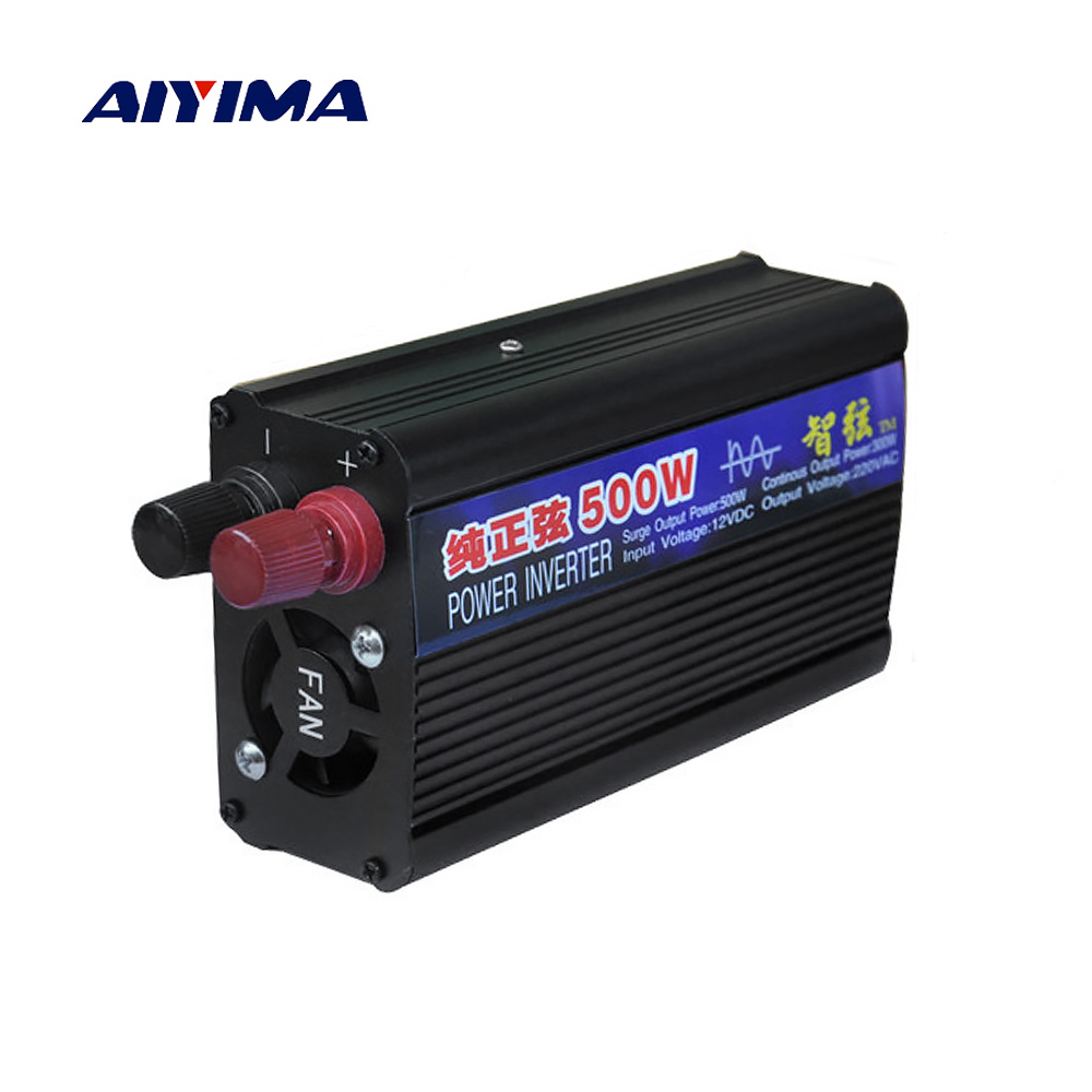 AIYIMA 500W Pure Sine Wave Power Inverter DC12V 24V To AC220V Car Home Inverter Voltage Transformer