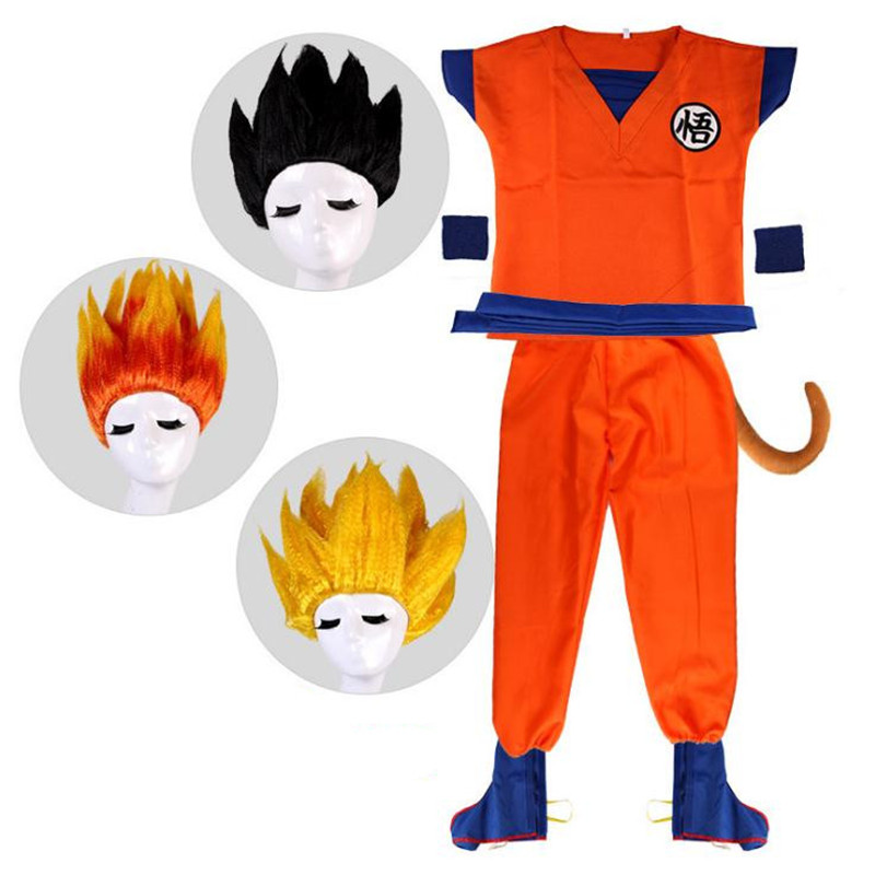 Children Adult Anime Dragon Ball Son Goku Kakarotto Cosplay Costumes Wig Tail Set Christmas Party Halloween Costume For Kids Men