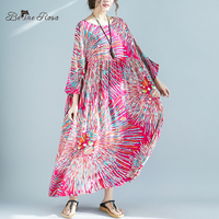 BelineRosa Bohemian Beach Style Cotton Linen Plus Size Dress Summer 4XL 5XL 6XL 7XL Plus Size Women Clothing Boho Dress XXFS0001