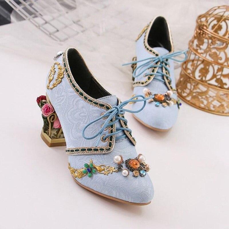 92a884b24 Bordado Otoño Boda La Alto De Tacón El Flores Las Novia Grueso Rojo  Diamantes Y Zapatos ...