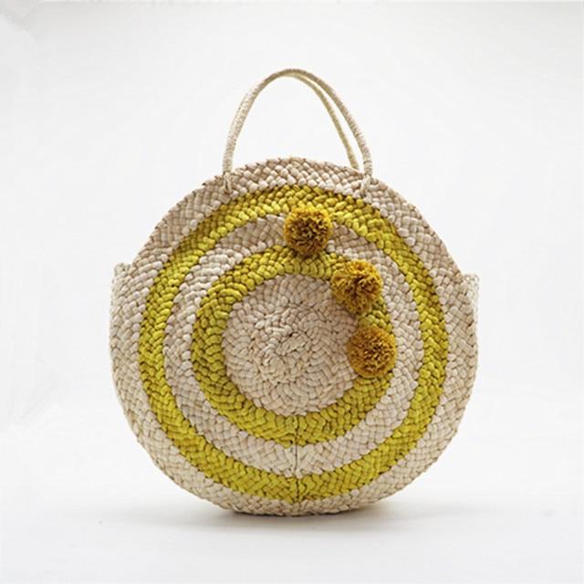 Round Circle Circular Straw Tote Bag Pompom Basket Weave Hit Color Sicilian Women