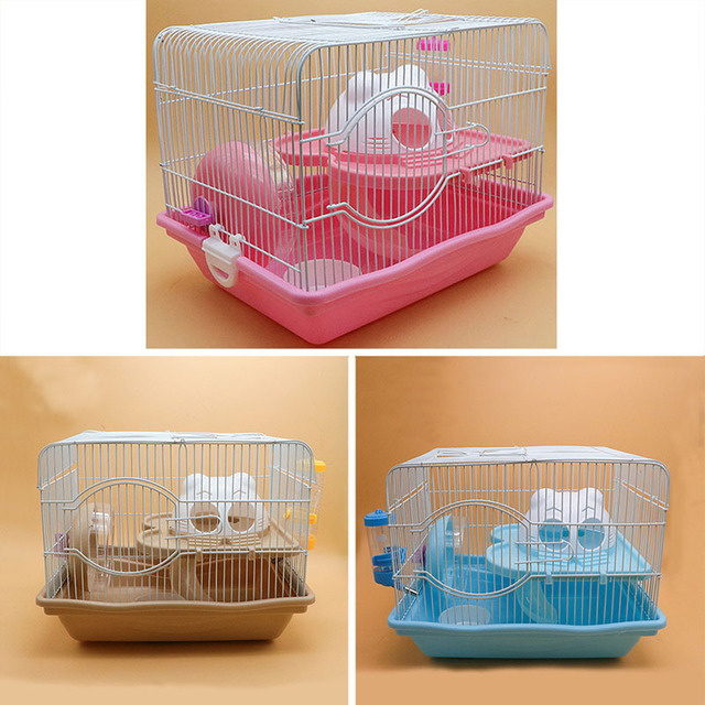 Small Animal 2 Floors Hamster Mouse Rat Cage Storey House Playground Feeder Water Bottle Silent