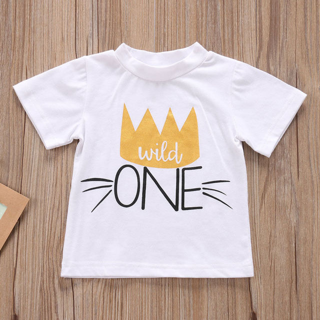 2017 Newest Fashion 1ST Birthday T Shirts Summer Hot Toddler Infant Kids Baby Boys Girls Short Sleeve Clothes Shirt Tops Cute