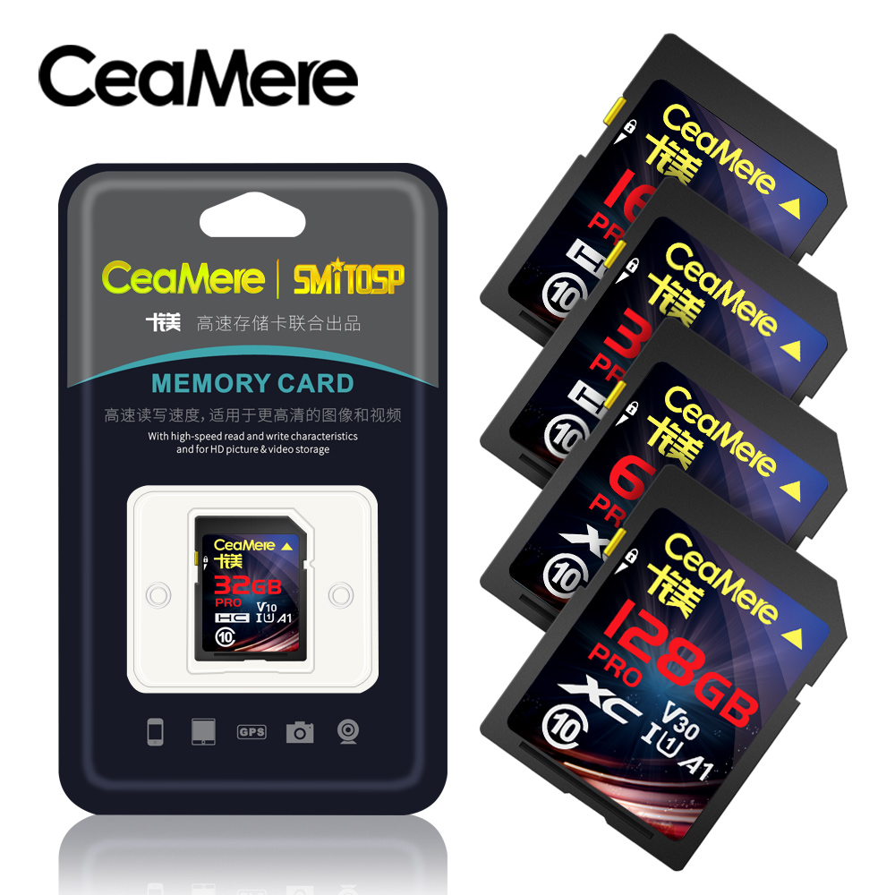 CeaMere SD Card 256G 128GB 64GB 32GB 16GB XC HC Flash Memory Card Class 10 UHS-I Micro Sd Card 128GB For Camera Drop Shipping