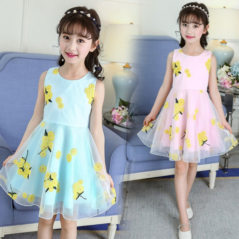 Kids Girl Sunflower Dress Sleeveless Baby Flower Girl Dress For Beach Wedding Pink Skyblue Yellow Color Toddler Princess Costume Dresses Aliexpress,Fitted Satin And Lace Wedding Dress