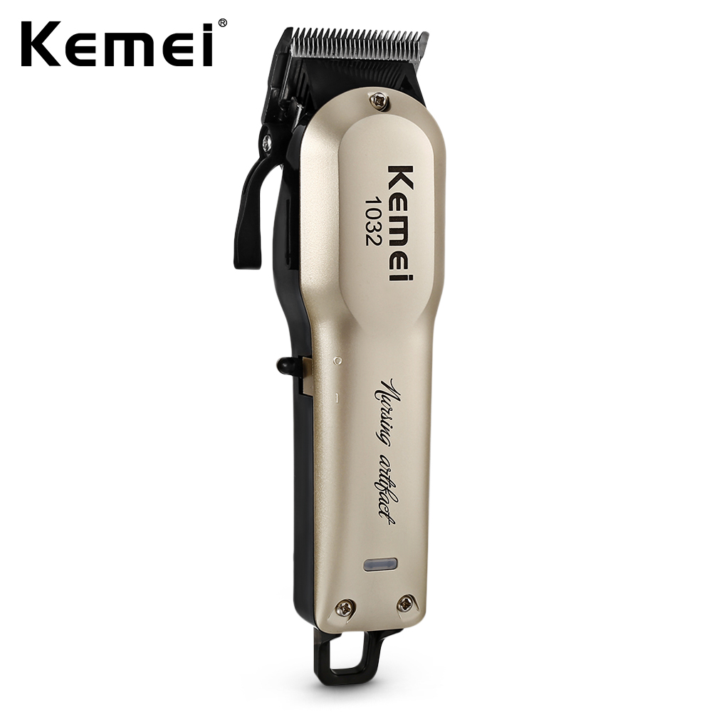 Kemei Rechargeable Electric Hair Clipper Trimmer Men Cordless Powerful Motor with 4 Guide Comb Dual-use Beard Trimmer KM-1032