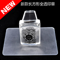 New 1 Set Pure Clear Jelly Silicone Nail Art Stamper+Plastic Scraper with Cap Transparent Rectangle Stamping Manicure DIY Tools
