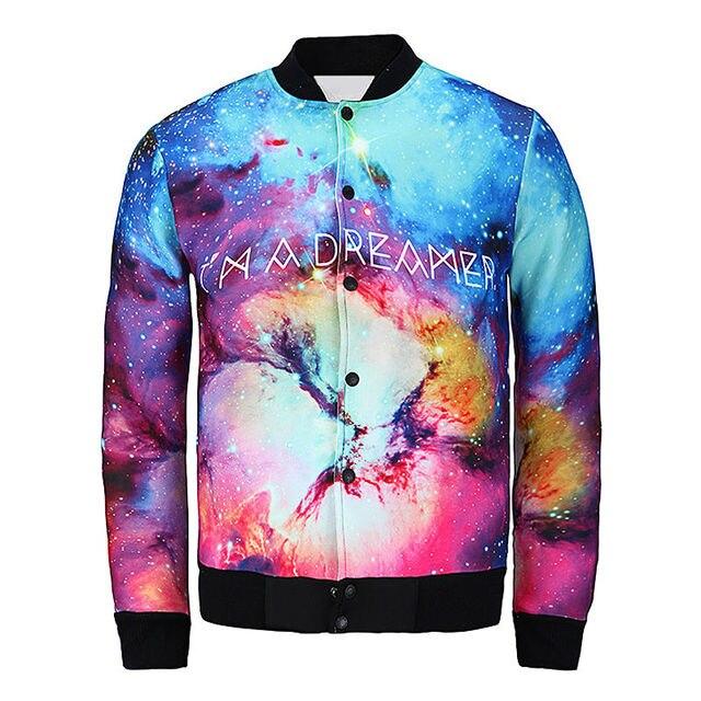 new design men jacket 3d print i am dreamer graphic coat christmas beautiful galaxy jacket space - Christmas Jackets
