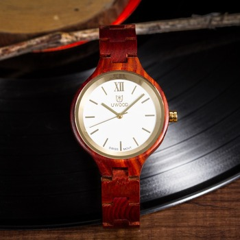2018 UWOOD W3003B reloj de madera para mujer de cuarzo analógico indicador de fecha reloj de pulsera relogio masculino erkek kol saati de alta calidad
