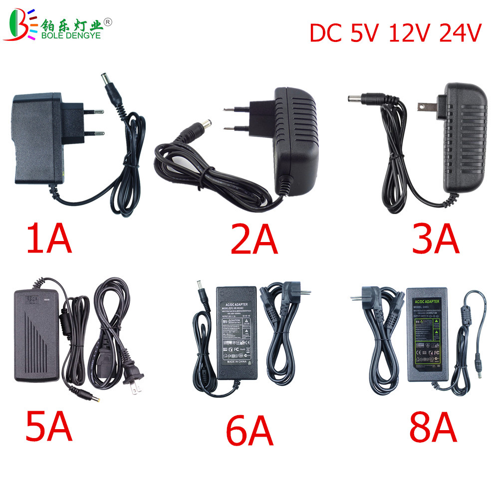 LED Power Adapter 5.5*2.1~2.5mm Female Connector AC 110V 220V To DC 12V 24V 5V Lighting Transformer For LED Strip CCTV Router