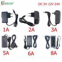 LED Power Adapter 5.5*2.1~2.5mm Female Connector AC 110V 220V To DC 12V 24V 5V Lighting Transformer For LED Strip CCTV Router