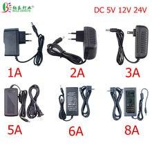 Adaptador de alimentação led, 5.5*2.1 ~ 2.5mm conector fêmea ac 110v 220v para dc 12v transformador de iluminação 24v 5v, para roteador de led cctv