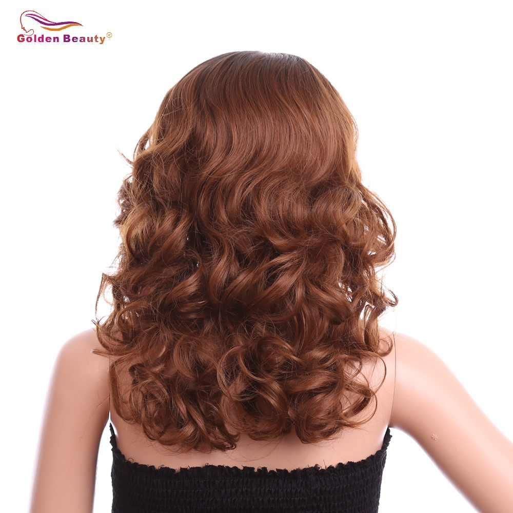 18 дюймов свободная глубокая волна парики L часть синтетический Синтетические волосы на кружеве парик плечо Длина Браун Синтетические парики для черный Для женщин Золотой Красота