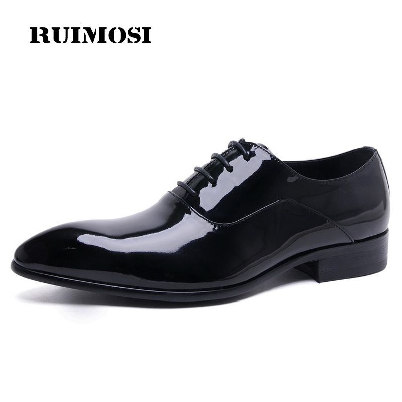 RUIMOSI 2017 New Luxury Brand Man Shoes Patent Leather Wedding Oxfords Pointed Toe Laced Men's Handmade Bridal Male Flats ME62