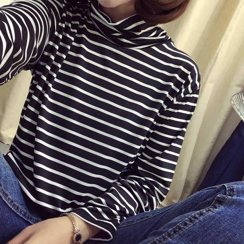 b7a5d48a360079 ... Women Turtle Neck Long Sleeve T Shirts High Neck Top Base Shirt Solid  Color/Striped ...