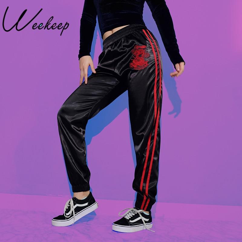 Weekeep Drago Del Ricamo di Stile Cinese Pantaloni di Modo Delle Donne A Vita Alta Side Stripe Pantalon Femme Casuali Allentati Dei Pantaloni di Fondo
