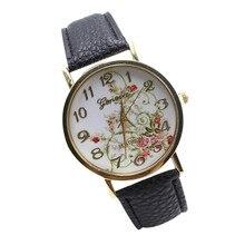 Relojes Mujer 2017 Vintage Flowers Stripes Dots Watch Women PU Leather wristwatch casual dress watch Ladies Watch Dropp shipping