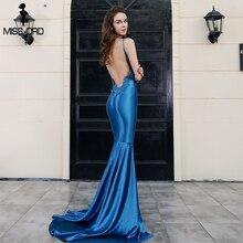 Missord 2018 пикантные v-образным вырезом, без рукавов, с открытой спиной синий цвет макси праздничное платье ft8217-1