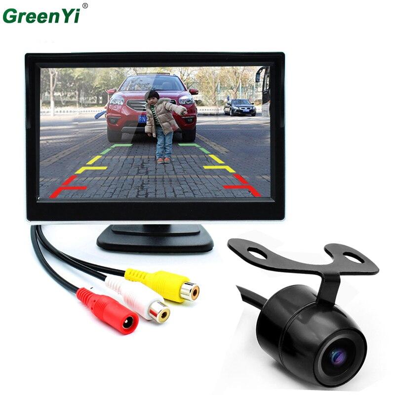 5 Inch TFT LCD Rear View Display Monitor + Front Night Vision Reversing Backup Rear View Camera High Quality Car Monitors