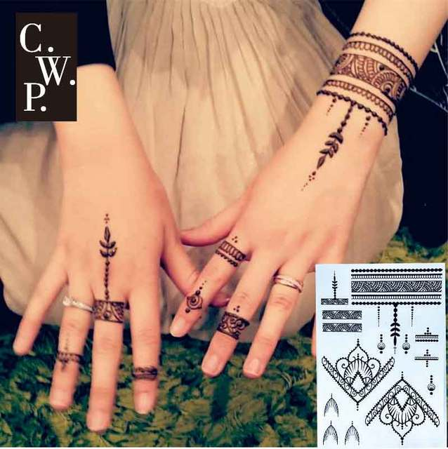 Bh1707 1 Piece Modern Black Henna Temporary Tattoo With Triangle