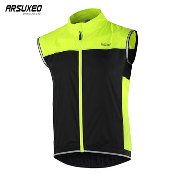 ARSUXEO Men Cycling Vest Windproof Waterproof Bike Jersey Sleeveless Bicycle Vest MTB Clothing Reflective Wind Coat Jacket 15V1 wosawe cycling windbreaker jacket cycling motocross riding outwear lightweight waterproof coat mtb bike jersey reflective coat