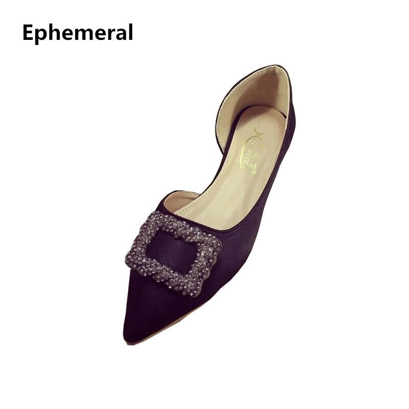 0313b9a71 Ladies Silk Stain Half Cut Flats Pointed Toe High Quality Rhinestones  Slip-on Black Red