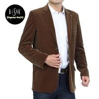 Mens Slim Fit Casual Two Button Solid Blazer Jacket Cotton Velvet Coat Plus Size Business Spring